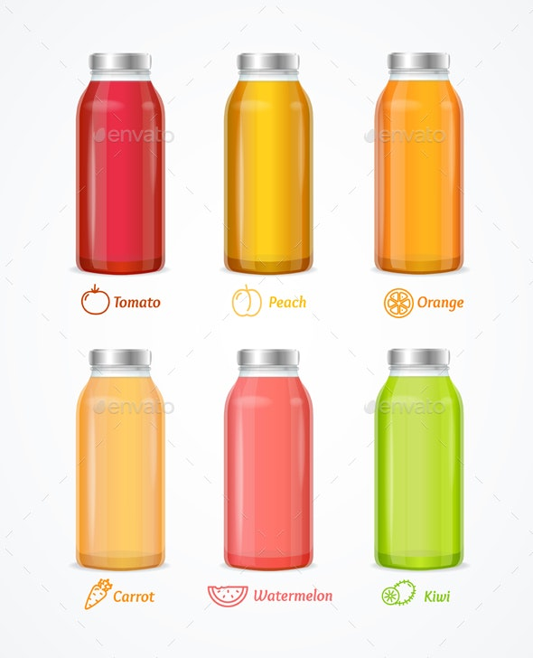 Realistic Detailed Different Juice Bottle Set - Man-made Objects Objects