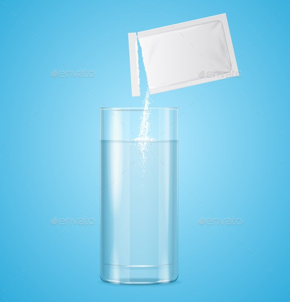 Pouring Powdered in Transparent Glass with Water - Health/Medicine Conceptual