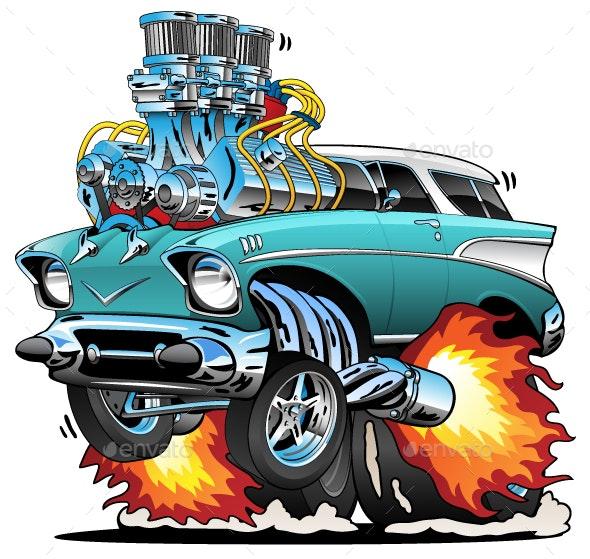 Classic Fifties Hot Rod Muscle Car Cartoon Vector Illustration - Miscellaneous Conceptual