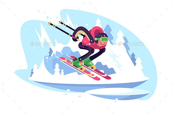 Happy Man Skiing in the Mountains Against Blue Sky - Sports/Activity Conceptual