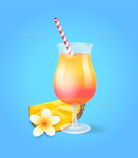 Cocktail in Glass with Straw - Food Objects