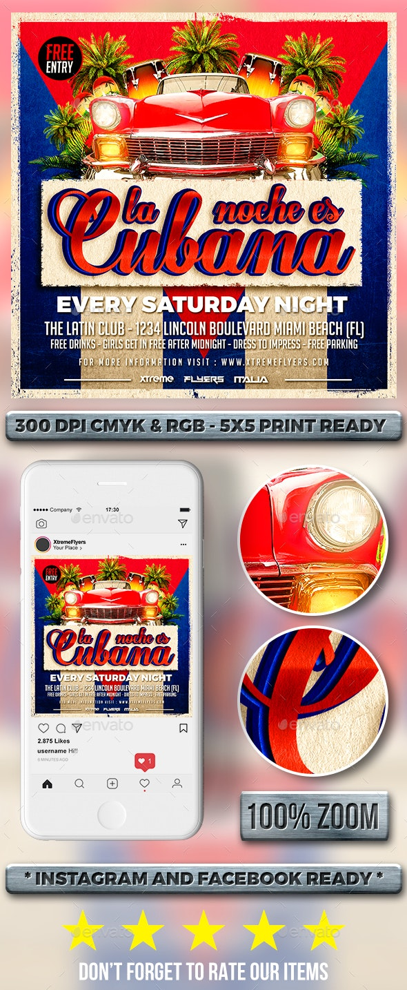 Cuban Latin Flyer - Clubs & Parties Events