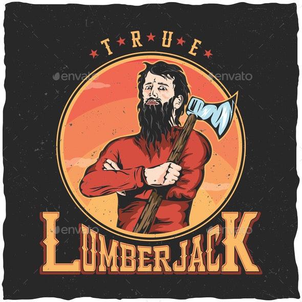 Lumberjack Woodworks Label Design Poster - People Characters