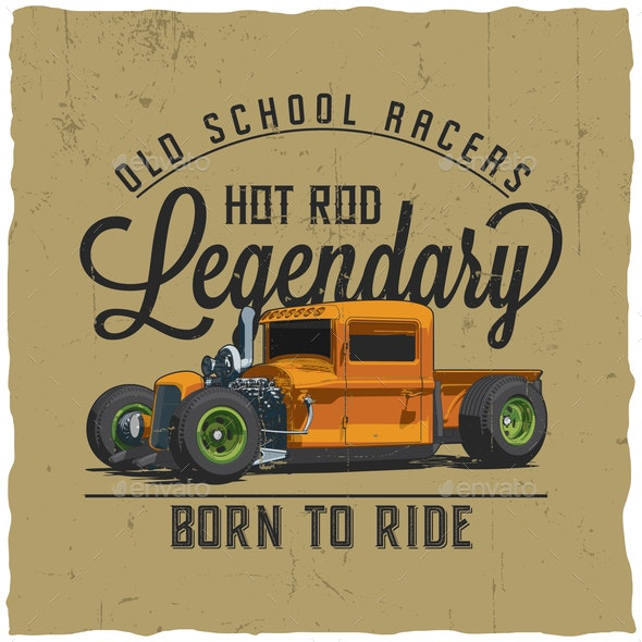 Old School Legendary Racers Poster - Miscellaneous Vectors