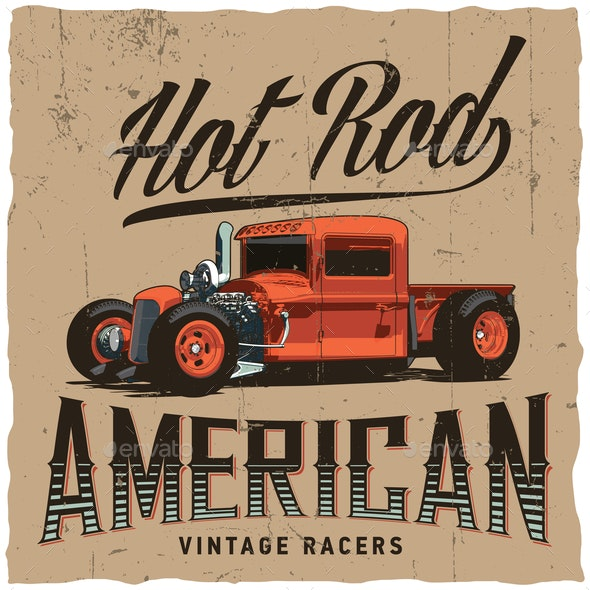 Hot Rod American Racers Poster - Miscellaneous Vectors