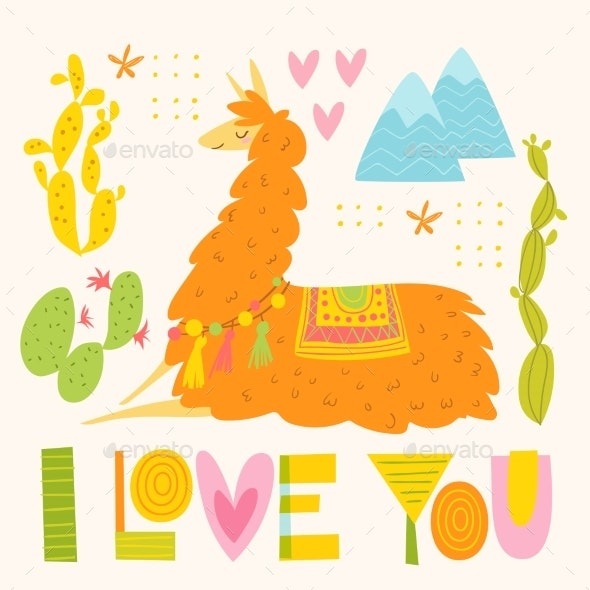 Vector Love Poster with Alpaca - Animals Characters