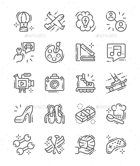 Interest Line Icons - People Characters
