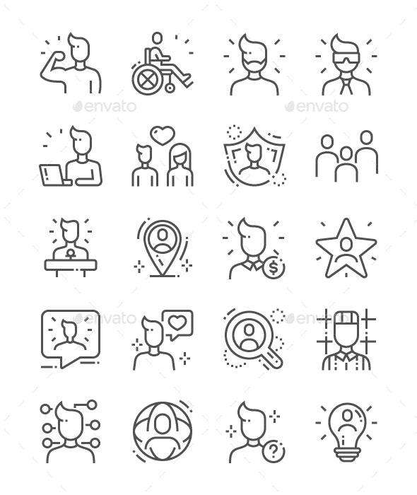 People Line Icons - People Characters