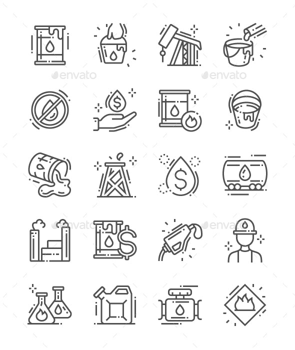 Oil Industry Line Icons - Business Icons