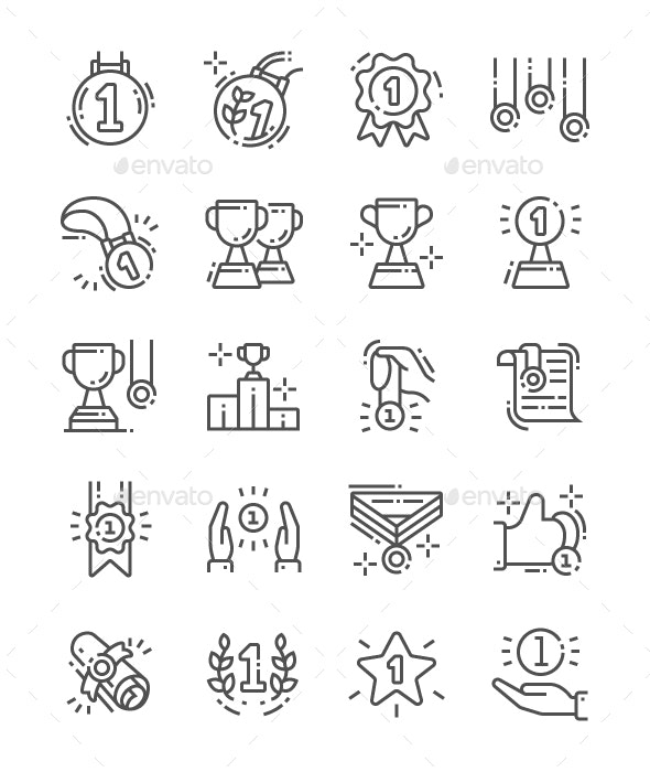 Awards and Trophies Line Icons - People Characters