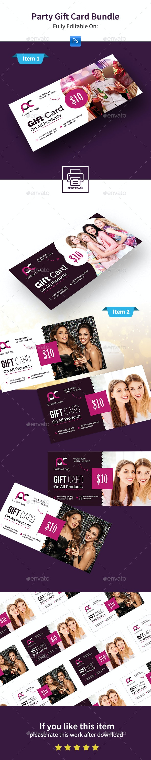 Party Gift Card Bundle - Cards & Invites Print Templates