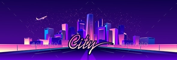 Abstract Neon City - Buildings Objects
