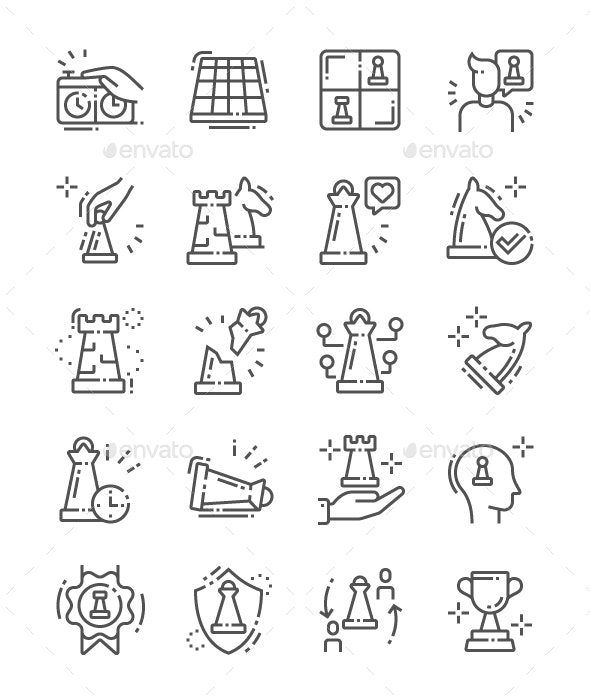Chess Line Icons - Miscellaneous Characters