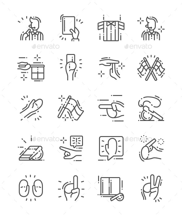 Referee stuff Line Icons - People Characters