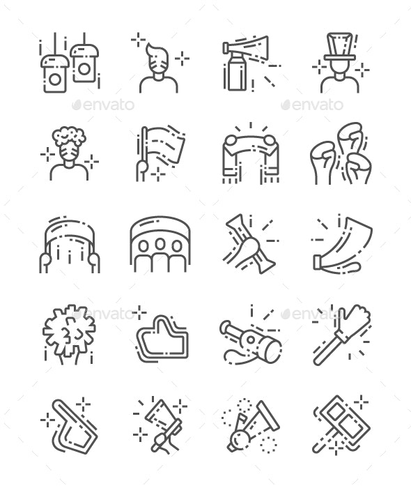 Fans Line Icons - People Characters