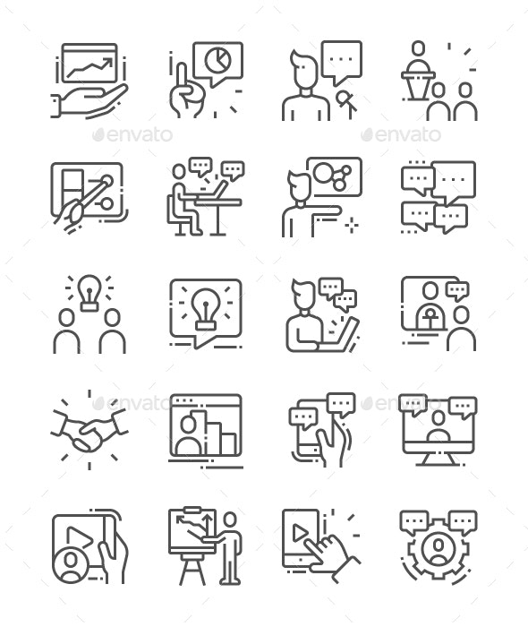 Conference Line Icons - Business Icons