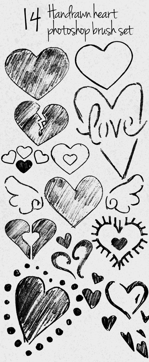 14 Hand Drawn Heart Photoshop Brush Set - Brushes Photoshop