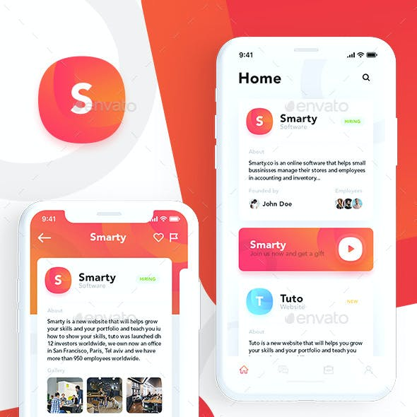 Smarty - Mobile Jobs and Connection Network App UI Kit Design