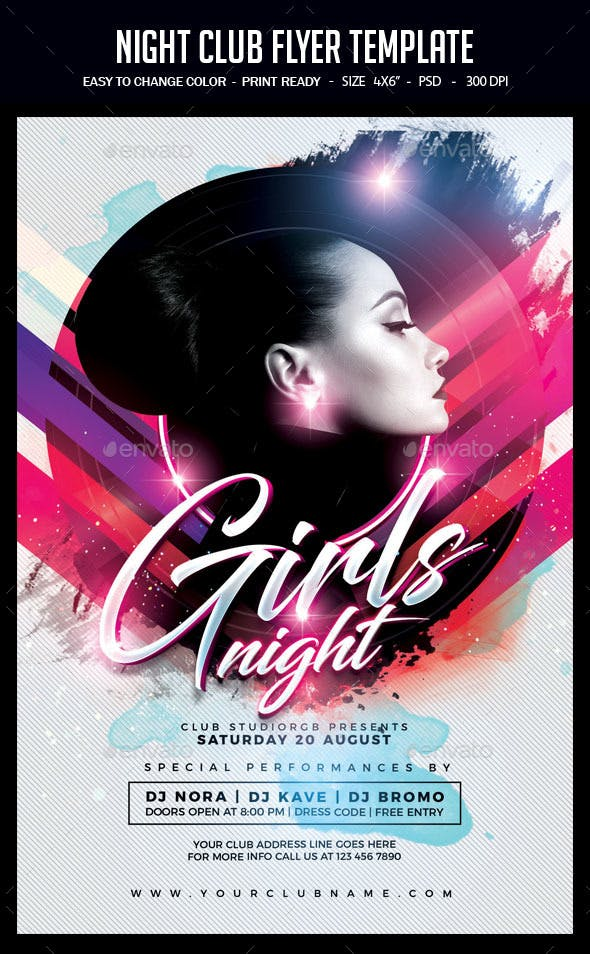 Night Club Flyer Template Clubs Parties Events