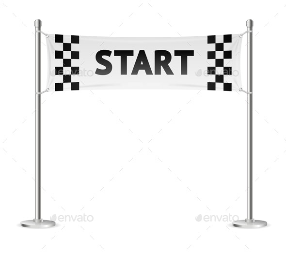 Realistic Detailed Racing Start Line Vector - Man-made Objects Objects