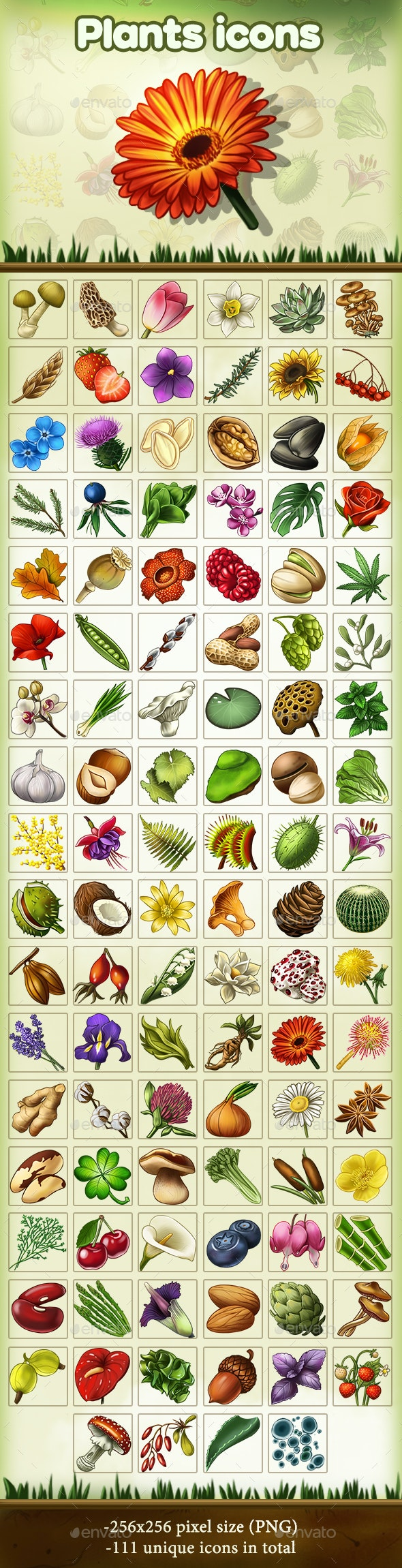 Plants Icons - Miscellaneous Game Assets