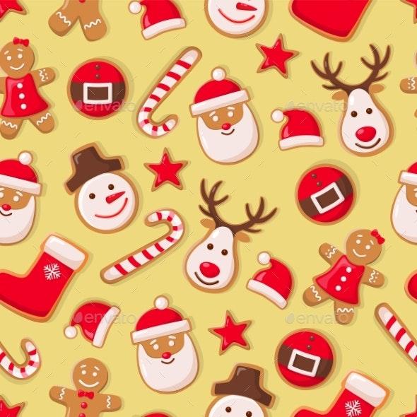 Gingerbread Man Cookies and Santa Claus Candy - Christmas Seasons/Holidays