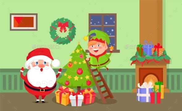 Merry Christmas Santa Claus and Elf at Home Room - Christmas Seasons/Holidays