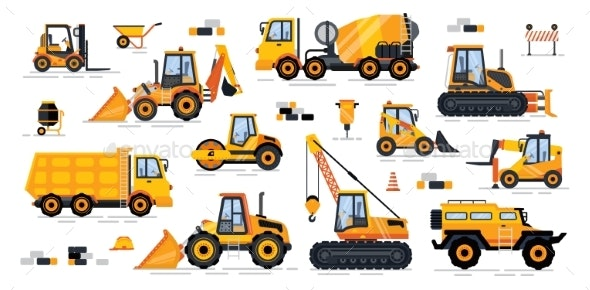 Cement Mixer Industrial Machinery Isolated Icons - Industries Business