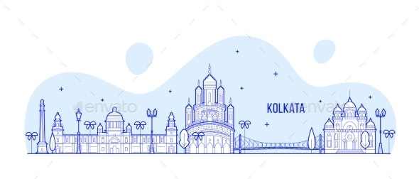 Kolkata Skyline West Bengal India City Line Vector - Buildings Objects