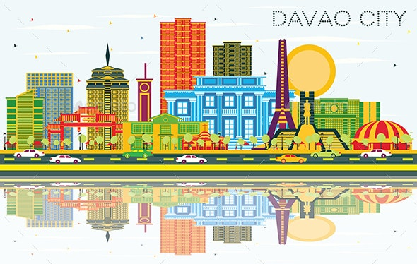 Davao City Philippines Skyline with Color Buildings - Buildings Objects