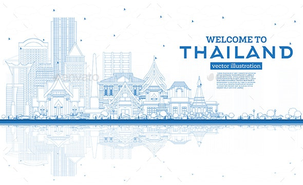 Outline Welcome to Thailand City Skyline - Buildings Objects