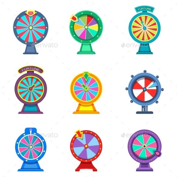 Set of Isolated Wheels of Fortune - Decorative Symbols Decorative