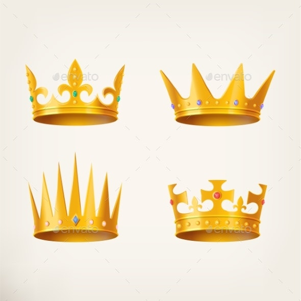 Crowns for King or Queen, 3d Royal Headdress - Miscellaneous Vectors