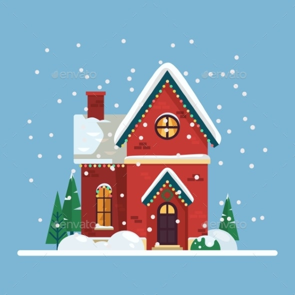 Building with 2019 New Year and Christmas Decor - Seasons/Holidays Conceptual