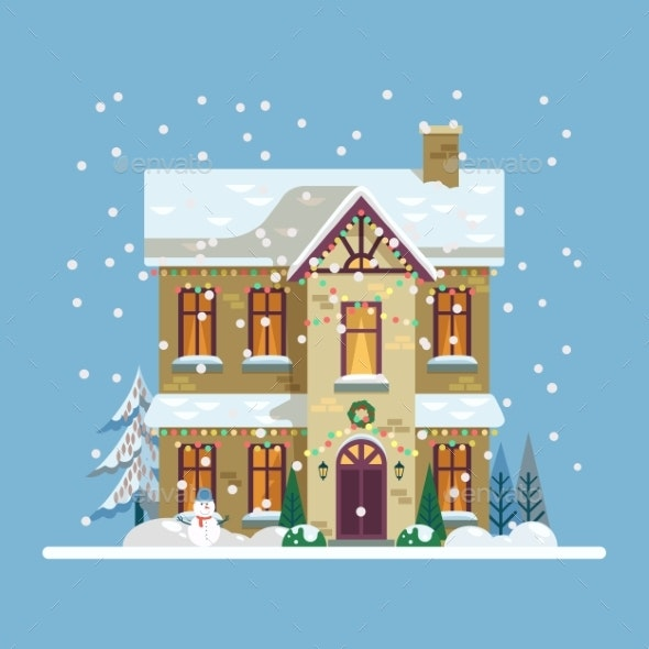Yard with House Decorated for 2019 New Year, Xmas - Seasons/Holidays Conceptual