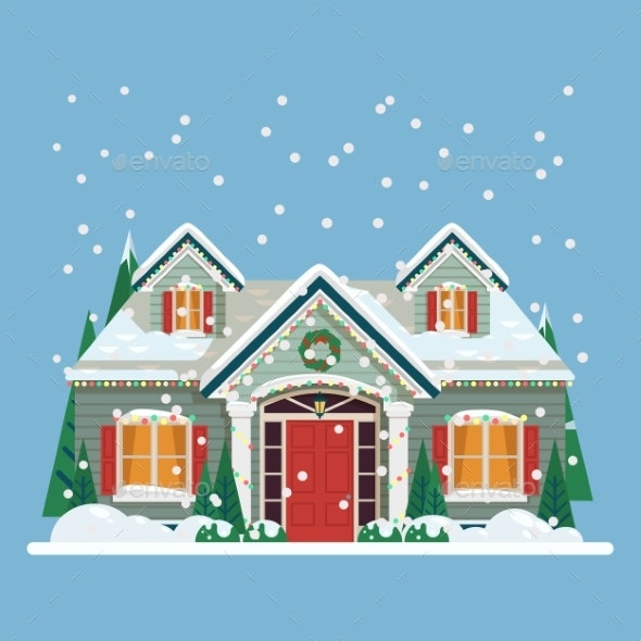 Yard with House or Home Decorated for New Year - Seasons/Holidays Conceptual