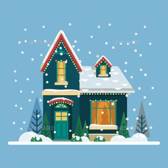 Home with Christmas Eve and New Year Decorations - Seasons/Holidays Conceptual