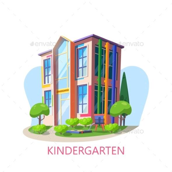 Building of Kindergarten with Playground - Miscellaneous Vectors
