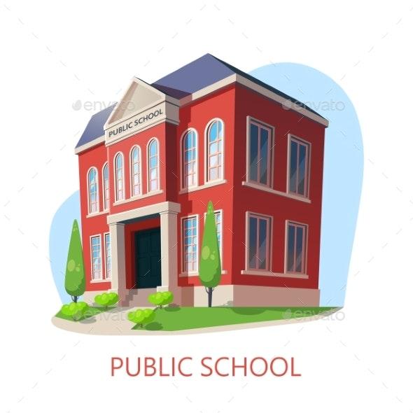 Public School. Elementary Education Building - Buildings Objects