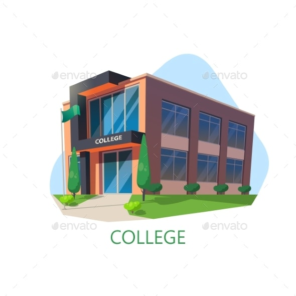 Modern College Building. Education Architecture - Buildings Objects