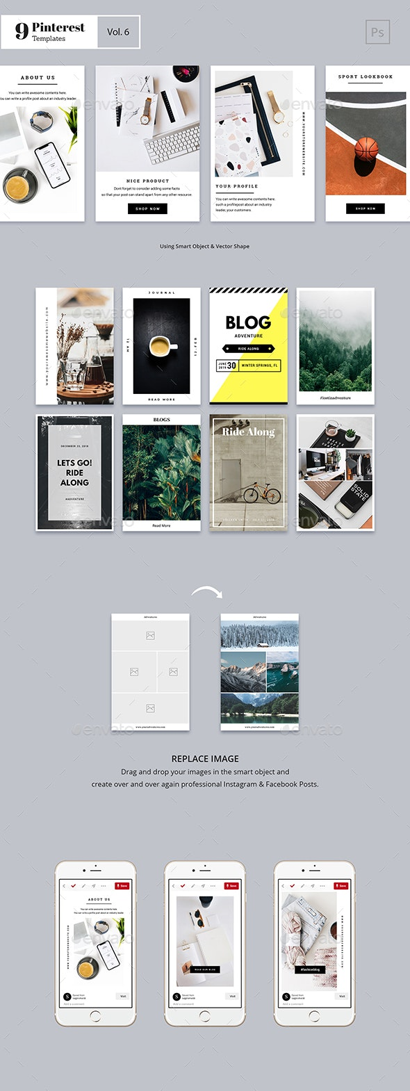 Pinterest Templates Vol. 1 - Social Media Web Elements