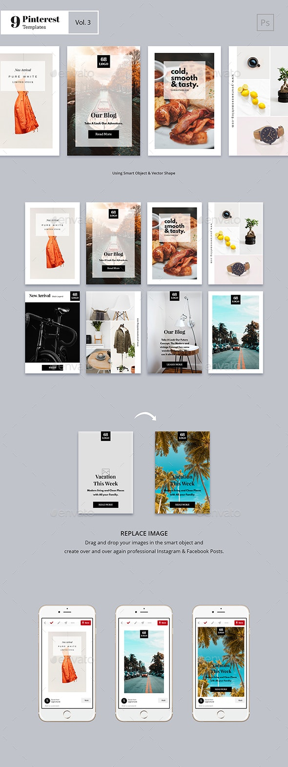 Pinterest Templates Vol. 3 - Social Media Web Elements