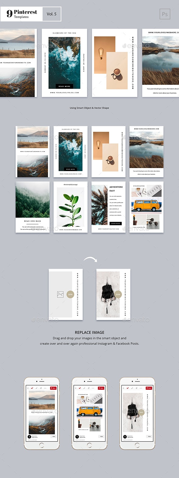Pinterest Templates Vol. 5 - Social Media Web Elements