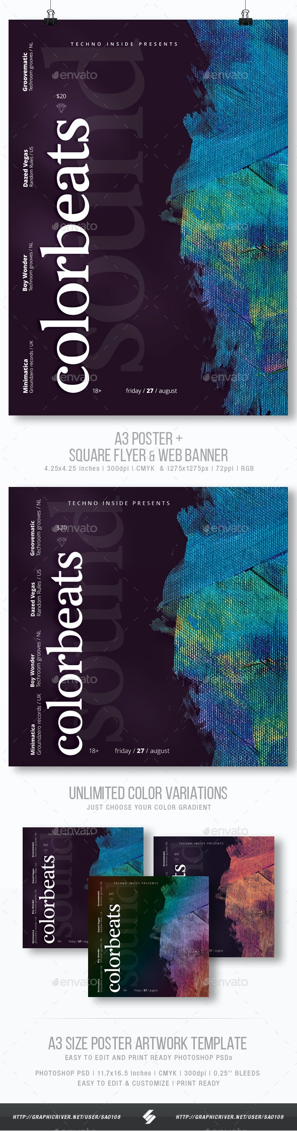 Colorbeats - Minimal Party Flyer / Poster Template A3 - Clubs & Parties Events