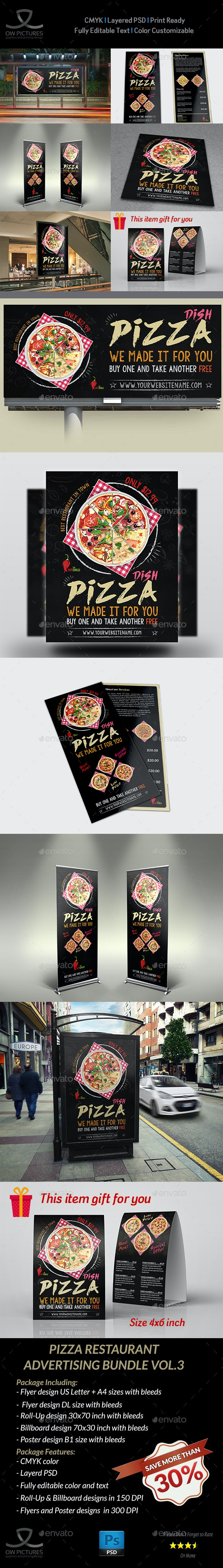 Pizza Restaurant Advertising Bundle Vol.3 - Signage Print Templates