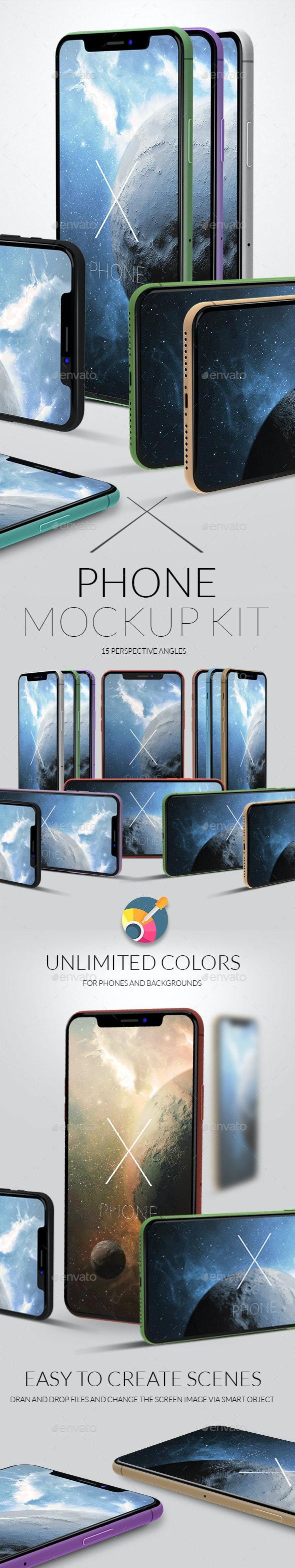 X Phone Mock-up Kit - Product Mock-Ups Graphics