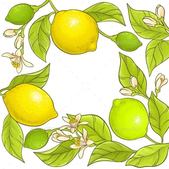 Lemon Branch Vector Frame - Food Objects