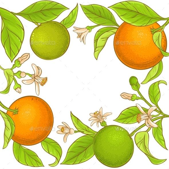 Orange Branch Vector Frame - Food Objects