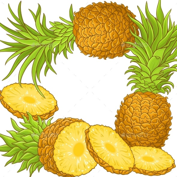 Pineapple Fruit Vector Frame - Food Objects