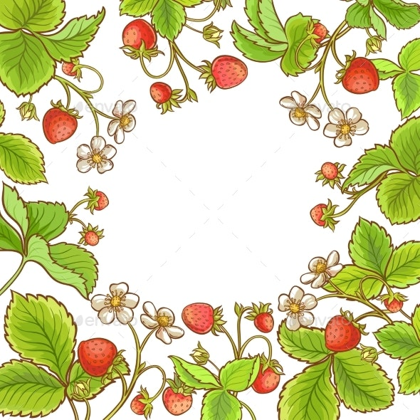 Strawberry Plant Vector Frame - Food Objects